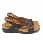 Анатомични дамски сандали изцяло от естествена кожа КА 1248-523 кафяв | Равни дамски сандали | MES.BG