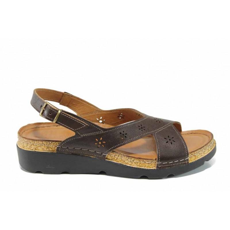 Анатомични дамски сандали изцяло от естествена кожа КА 1248-523 кафяв   Равни дамски сандали   MES.BG