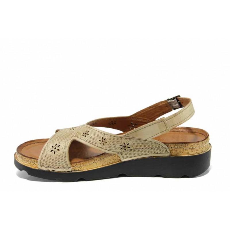 Анатомични дамски сандали изцяло от естествена кожа КА 1248-506 бежов   Равни дамски сандали   MES.BG