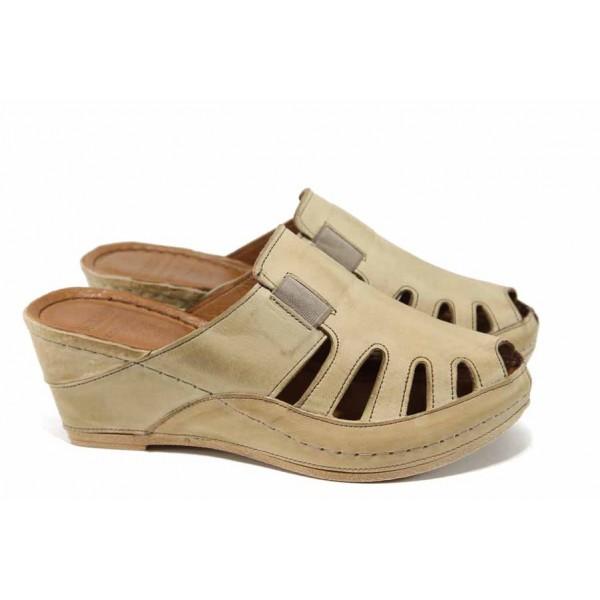Дамски ортопедични чехли /тип сабо/ от естествена кожа КА 1513-506 бежов | Дамски чехли на платформа | MES.BG