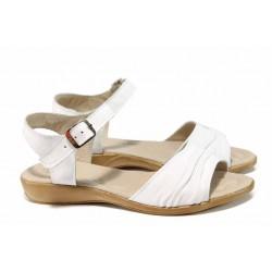Анатомични български сандали от естествена кожа НЛ 239-12340 бял | Равни дамски сандали | MES.BG