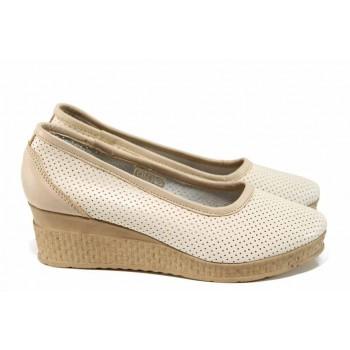 Анатомични български обувки от естествена кожа НЛ 286-18206 сахара | Дамски обувки на платформа | MES.BG