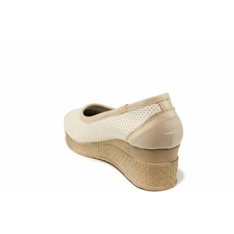 Анатомични български обувки от естествена кожа НЛ 286-18206 сахара   Дамски обувки на платформа   MES.BG