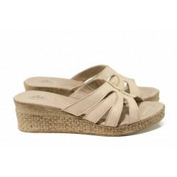 Анатомични български чехли от естествена кожа НЛ 404-18206 сахара | Дамски чехли на платформа | MES.BG