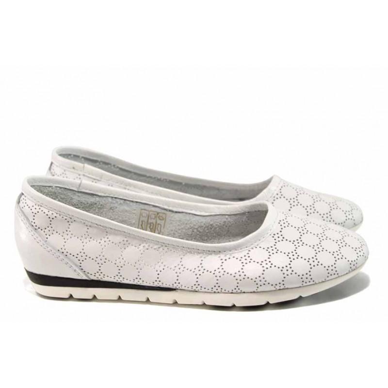 Анатомични български обувки от естествена кожа НЛ 286-1706 бял | Равни дамски обувки | MES.BG