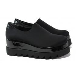 Модерни дамски обувки с естествен кожен хастар МИ 2364 черен | Дамски обувки на платформа | MES.BG