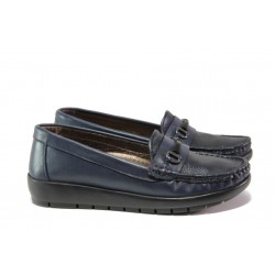 Дамски ортопедични мокасини от естествена кожа МИ 2473 син | Равни дамски обувки | MES.BG