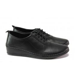Анатомични дамски обувки от естествена кожа МИ 201 черен | Равни дамски обувки | MES.BG