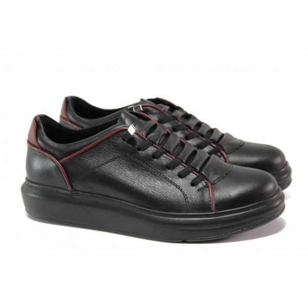 Анатомични дамски обувки от естествена кожа МИ 0804 черен | Равни дамски обувки | MES.BG