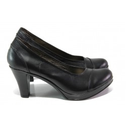 Български анатомични обувки; естествена хастарна част; лека, удобна платформа / НЛ 140-6843 черна кожа/ MES.BG