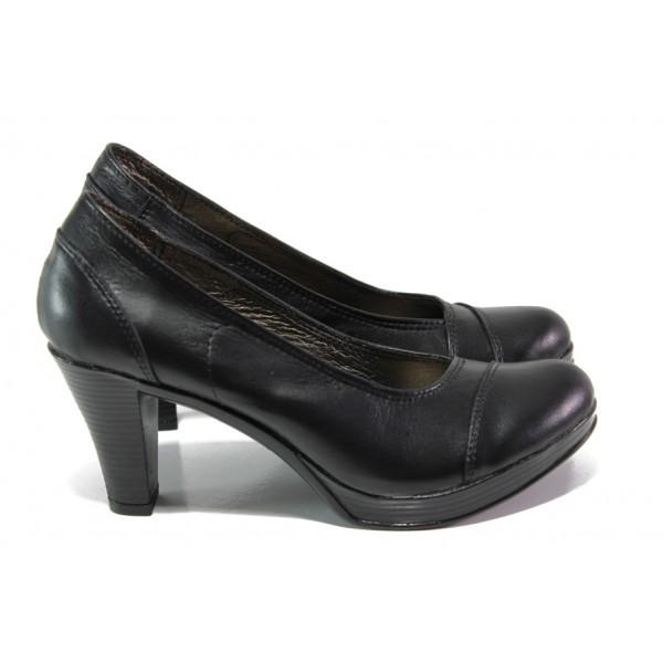 Анатомични български обувки от естествена кожа НЛ 140-6843 черен кожа | Дамски обувки на висок ток | MES.BG