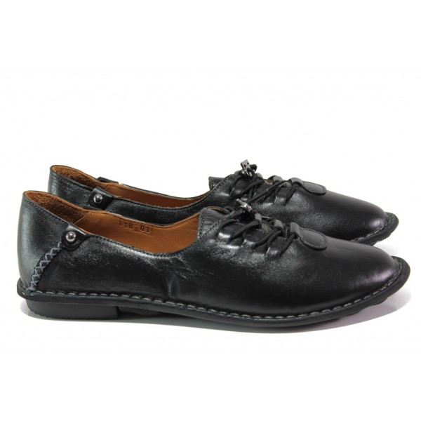 Дамски ортопедични обувки от естествена кожа МИ 118 черен-гигант | Равни дамски обувки | MES.BG