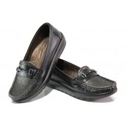 Дамски ортопедични мокасини от естествена кожа МИ 2473 черен | Равни дамски обувки | MES.BG