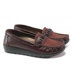 Дамски ортопедични мокасини от естествена кожа МИ 2473 бордо | Равни дамски обувки | MES.BG