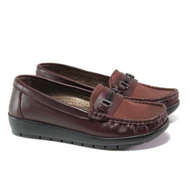 Дамски ортопедични мокасини от естествена кожа МИ 2473 бордо   Равни дамски обувки   MES.BG