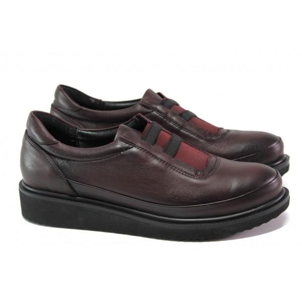 Дамски ортопедични обувки от естествена кожа МИ 05 бордо | Равни дамски обувки | MES.BG