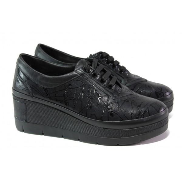 Анатомични дамски обувки от естествена кожа МИ 808-898 черен | Дамски обувки на платформа | MES.BG