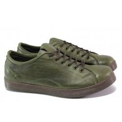 Спортни ортопедични обувки от естествена кожа ТЯ 1104 зелен | Равни дамски обувки | MES.BG