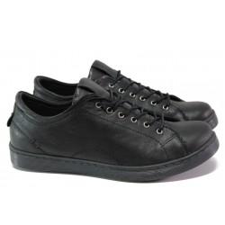 Спортни ортопедични обувки от естествена кожа ТЯ 1104 черен | Равни дамски обувки | MES.BG