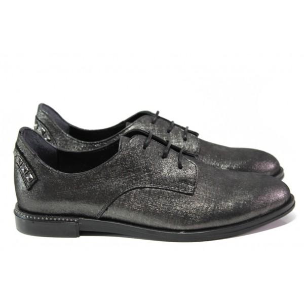 Дамски ортопедични обувки от естествена кожа ТЯ 152 графит   Равни дамски обувки   MES.BG