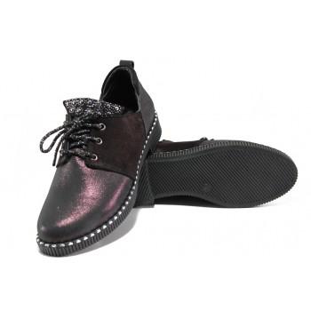 Модерни дамски обувки от естествена кожа ТЯ 1045 бордо | Равни дамски обувки | MES.BG