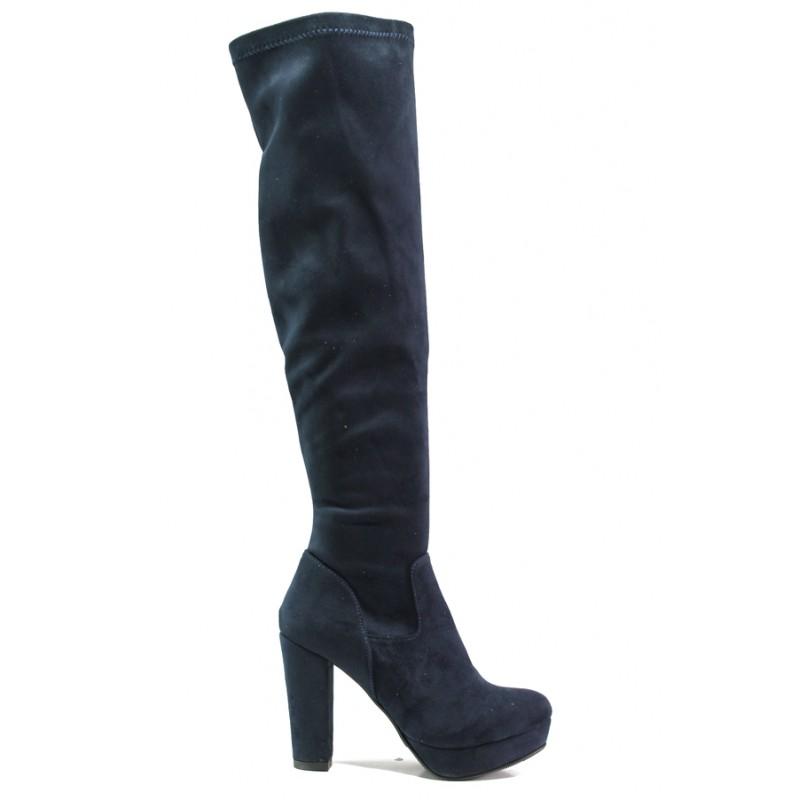 Дамски ботуши от естествен велур тип чизми МИ 160-1 син   Дамски ботуши   MES.BG