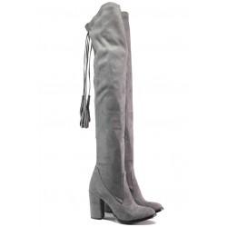 Дамски ботуши тип чизми МИ 65 сив | Дамски ботуши | MES.BG