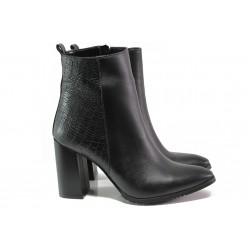 Елегантни дамски боти от естествена кожа ФА 82 черен | Дамски боти с топъл хастар | MES.BG