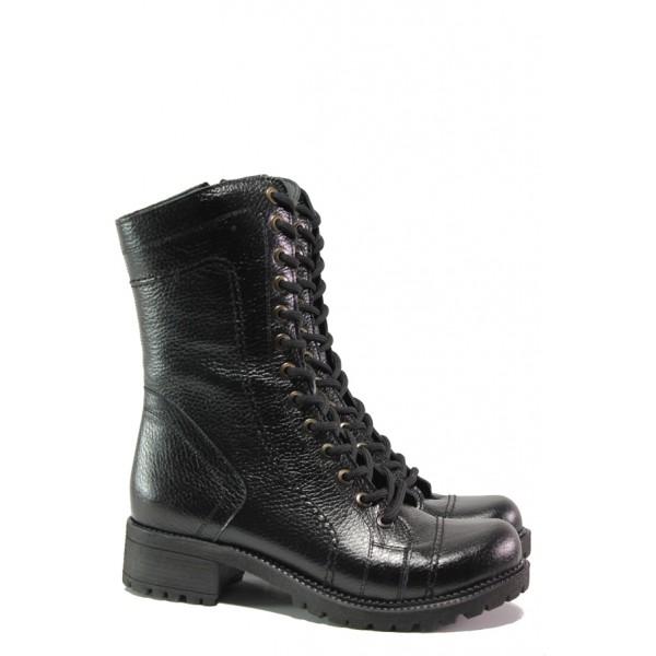 Дамски боти от естествена кожа МИ 670 черен | Дамски боти с топъл хастар | MES.BG
