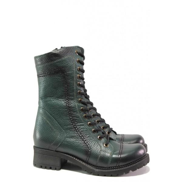 Дамски боти от естествена кожа МИ 670 зелен | Дамски боти с топъл хастар | MES.BG