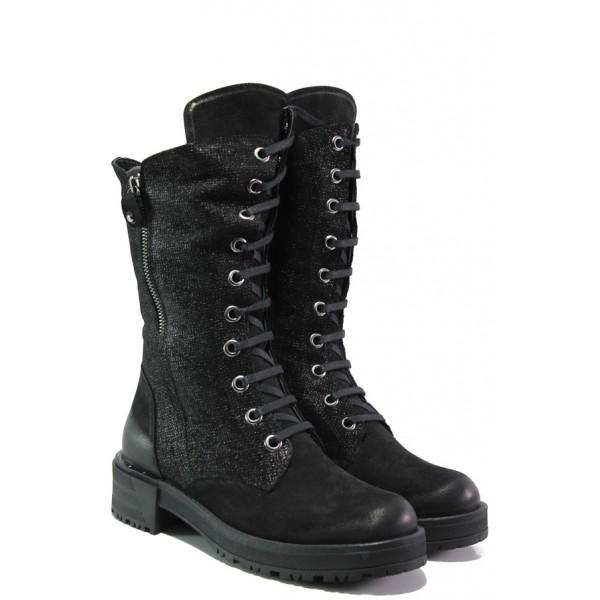 Дамски боти от естествен набук МИ 3006 черен | Дамски боти с топъл хастар | MES.BG