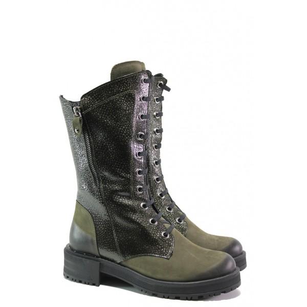 Дамски боти от естествен набук МИ 3006 зелен | Дамски боти с топъл хастар | MES.BG