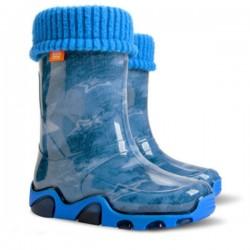 Детски ботуши с топъл свалящ се чорап Demar 0032 джинс 20/27 | Гумени ботуши |MES.BG
