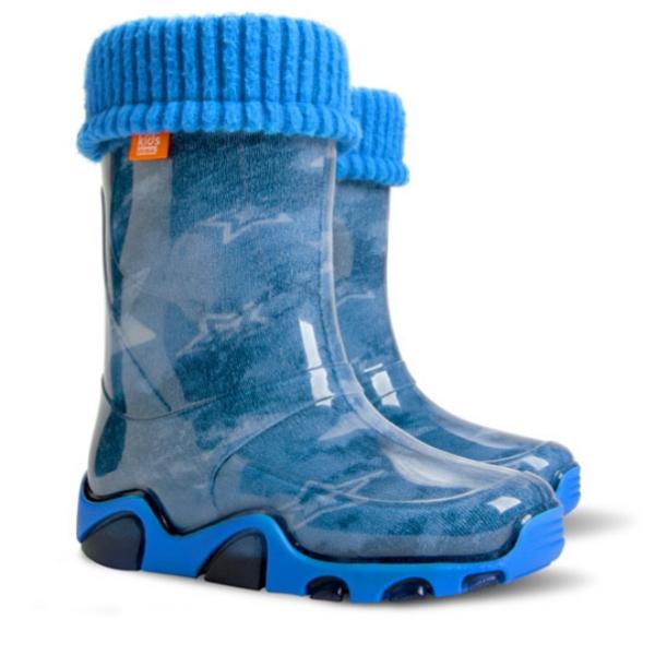 Детски ботуши с топъл свалящ се чорап Demar 0033 джинс 28/35 | Гумени ботуши |MES.BG