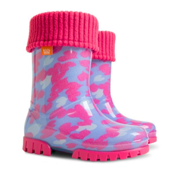 Детски ботуши с топъл свалящ се чорап Demar 0039 розови сърца 28/35 | Гумени ботуши |MES.BG