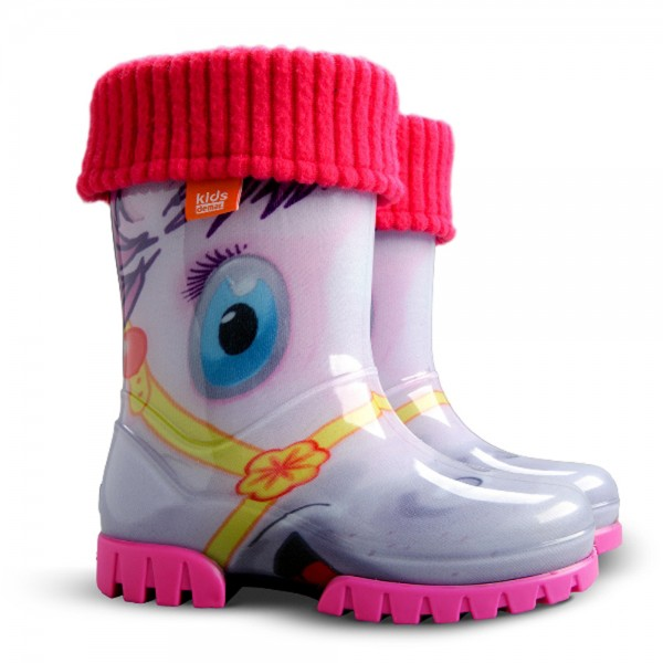Детски ботуши с топъл свалящ се чорап Demar 0039 пони 28/35 | Гумени ботуши |MES.BG