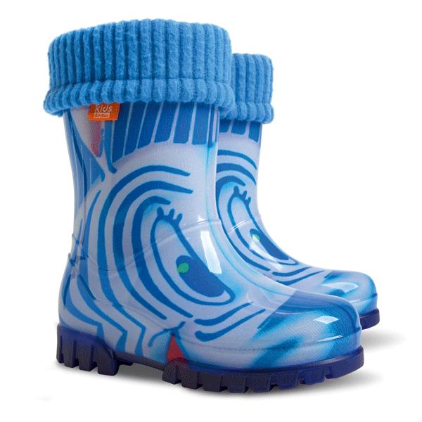 Детски ботуши с топъл свалящ се чорап Demar 0039 синя зебра 28/35 | Гумени ботуши |MES.BG