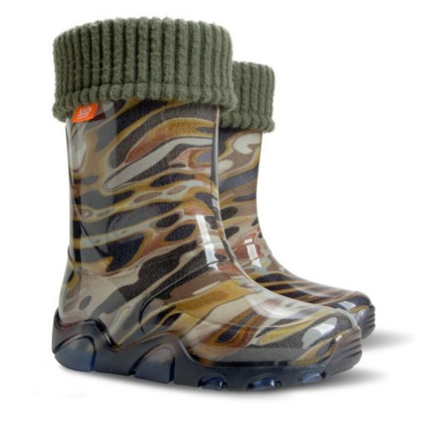 Детски ботуши с топъл свалящ се чорап Demar 0038 камуфлаж 20/27 | Гумени ботуши |MES.BG