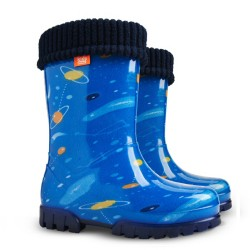 Детски ботуши с топъл свалящ се чорап Demar 0039 космос 28/35 | Гумени ботуши |MES.BG