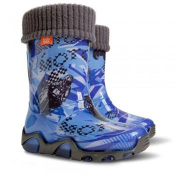 Детски ботуши с топъл свалящ се чорап Demar 00433 син мотор 28/35 | Детски гумени ботуши | MES.BG