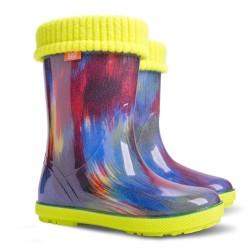 Детски ботуши с топъл свалящ се чорап Demar 0049 жълт неон 28/35 | Гумени ботуши |MES.BG