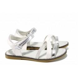Анатомични детски сандали АБ 5019 бял-сребро 31/35 | Детски чехли и сандали | MES.BG