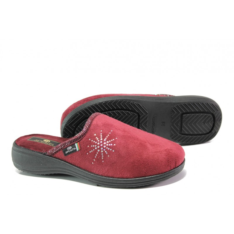 Анатомични български домашни чехли Spesita 361 бордо | Дамски домашни чехли | MES.BG
