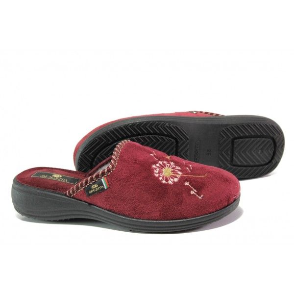 Анатомични български домашни чехли Spesita 356 бордо | Дамски домашни чехли | MES.BG