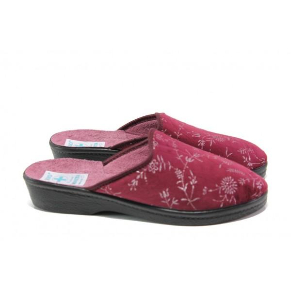 Анатомични дамски чехли с Bio ходило МА 23445 бордо | Домашни чехли | MES.BG