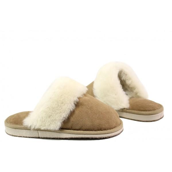 Български домашни чехли от естествена агнешка кожа М 150 бежов | Дамски чехли и пантофи | MES.BG