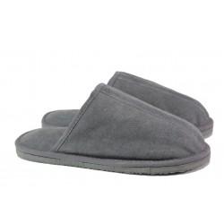 Български домашни чехли от естествена агнешка кожа М 155 сив | Мъжки чехли и пантофи | MES.BG