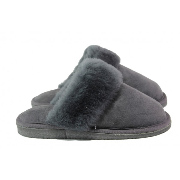 Български домашни чехли от естествена агнешка кожа М 150 сив | Дамски чехли и пантофи | MES.BG