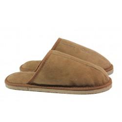 Български домашни чехли от естествена агнешка кожа М 155 кафяв | Мъжки чехли и пантофи | MES.BG