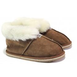 Български домашни пантофи от естествена агнешка кожа М 650 кафяв | Дамски чехли и пантофи | MES.BG
